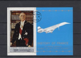 Bloc-souvenir Dentelé De Sana'a, 1969, Général De Gaulle En Habit De Président, Et Concorde En Vol. - Blocs Souvenir