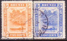 BRUNEI 1916 SG 49-50 Compl.set Used Wmk Mult.Cown CA CV £55 - Brunei (...-1984)