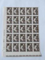 Feuille De 25 Timbres COB 649 - Croix-Rouge Avec Numéro De Planche . - Bélgica