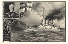 Artiste Cp Schulze, Hans Rud., Deutsches Kriegsschiff, Seewacht Bei Helgoland 1914, Wilhelm II. - Case Reali