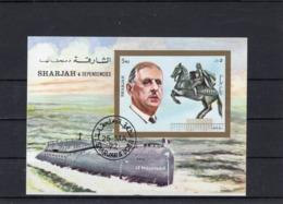 """Bloc-souvenir  De Sharjah, Général De Gaulle Et Le Sous-marin """" Le Redoutable """" - 1972. - Blocs Souvenir"""