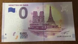 75 VEDETTES DE PARIS  NOTRE DAME & TOUR EIFFEL BILLETS 0 EURO SOUVENIR 2019 ZERO 0 EURO SCHEIN PAPER MONEY BANKNOTE - EURO