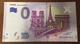 PARIS BATEAUX PARISIENS NOTRE DAME TOUR EIFFEL ARC DE TRIOMPHE BILLETS 0 EURO SOUVENIR 2019 0 EURO SCHEIN MONEY BANKNOTE - EURO
