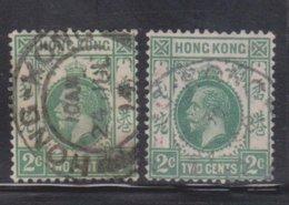 HONG KONG Scott # 110, 130 Used - King George V Watermarks 3 & 4 - Hong Kong (...-1997)