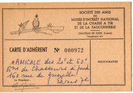 VP15.704 - Château De GIEN 1954 - Société Des Amis Du Musée ..de La Chasse à Tir & De La Fauconnerie - Carte D'Adhérent - Karten