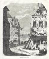 GRAVURE 1877....Souvenirs De PARIS. La Maison De La Rue Des Marmousets - Estampes & Gravures