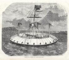 GRAVURE 1877....Grande BATTERIE Flottante Avec CUIRASSE, De M. RUTTER - Estampes & Gravures