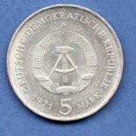 RDA  -  5 Mark 1971 A    -  état TTB + - [ 6] 1949-1990 : RDA - Rép. Démo. Allemande