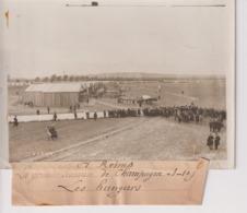 A REIMS LA GRANDE SEMAINE DE CHAMPAGNE  LES HANGARS 18*13CM Maurice-Louis BRANGER PARÍS (1874-1950) - Aviación