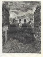 GRAVURE 1877....CATACOMBES De PARIS. Une Visite Dans Les Galeries De L'Ossuaire - Estampes & Gravures