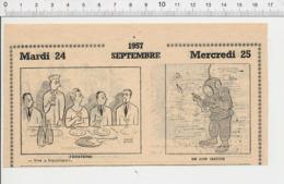 2 Scans Humour Royalisme Galette Des Rois Plongeur Scaphandrier Ancien Bonnet De Nuit 226ZL - Vieux Papiers