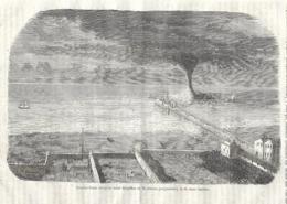 GRAVURE 1877....TROMBE D'EAU Observée Entre BRIGHTON Et WORTHIERS (Angleterre), Le 21 Mars 1877 - Estampes & Gravures
