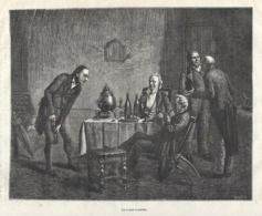 GRAVURE 1877....La Bonne Bouteille...HOMMES, VIN - Estampes & Gravures