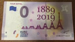 75 PARIS TOUR EIFFEL 1889 - 2019 BILLETS 0 EURO SOUVENIR ZERO 0 EURO SCHEIN PAPER MONEY BANKNOTE BANK NOTE - EURO