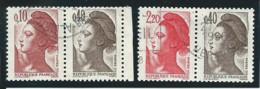 FRANCE: Obl., N°2179a + 2376b, TB - 1982-90 Liberté De Gandon