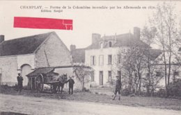 89-CHAMPLAY- Ferme De La Colombine Incendiée Par Les Allemands En 1870- Edition SAUJOT- Attelage à Cheval- - France