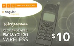 Walgreens $10 Rechargeable Pay As You Go Wireless - Cingular - Phonecards