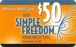 Digital Simple Freedom $50 Wireless Refill Card By Alltel - Phonecards