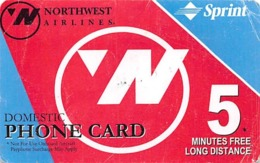 Northwest Airlines Domestic Phone Card 5 Minutes Free Long Distance Sprint - Unclassified
