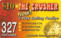 $10 The Crusher New! 3-way Calling Feature - 327 Minutes TeleCents Communications - Phonecards