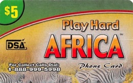 Play Hard Africa $5 Phone Card DSA - Slightly Torn Paper Card - Unclassified