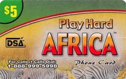 Play Hard Africa $5 Phone Card DSA - Slightly Torn Paper Card - Zonder Classificatie