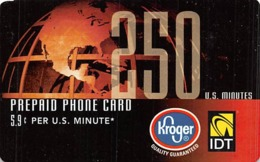 Kroger IDT 250 Minutes Prepaid Phone Card - Unclassified