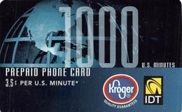 Kroger IDT 1000 Minutes Prepaid Phone Card - Phonecards