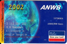 NETHERLANDS - ANWB(Royal Dutch Touring Club) 2002, Member Card, Used - Unclassified