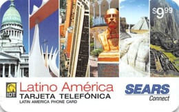 Sears Latino America $9.99 Phone Card - Phonecards