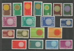 19 Stamps DIFFERENT - MNH - Europa-CEPT - Art - 1970 - Europa-CEPT
