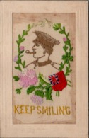 """Military Embroidered SILK Pc """" KEEP SMILING """"  Greeting On The Back Postcard - Embroidered"""