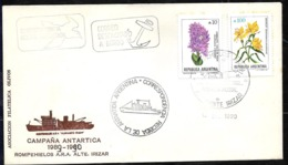 AANT-140 ARGENTINA ANTARCTIC 1990 ICEBREAKER IRIZAR ,POST HELITRANSPORTED COVER SPECIAL PMKS - Bases Antarctiques