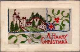 CPA Embroidered Silk A HAPPY CHRISTMAS, British Flag, Castle - Embroidered