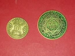 MONNAIES MAROC 50 FRANCS 1371 ET 10 FRANCS 1371 - Maroc