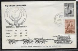 AANT-143 ARGENTINA ANTARCTIC 1969-70 GRAL BELGRANO STATION FAUNA SPECIAL PMKS - Bases Antarctiques