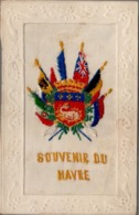 CPA , Embroidered Silk SOUVENIR DU HAVRE, BEAUCOUP DE DRAPEAUX, MANY FLAGS - Embroidered
