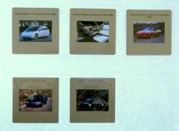 5 X Diapositive - Voiture - GENERAL MOTORS CONCEPT CAR HX3 - PONTIAC FIREBIRD - CADILLAC - SEVILLE - Diapositives