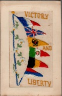 CPA , Embroidered Silk VICTORY And LIBERTY, Many FLAGS - Embroidered