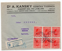 1929 KINGDOM OF SHS, SLOVENIA, LJUBLJANA TO CHEMNITZ, GERMANY, KANSKY, CHEMICAL FACTORY, REGISTERED LETTER - 1919-1929 Kingdom Of Serbs, Croats And Slovenes