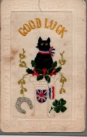 """CPA , Embroidered Silk """" GOOD LUCK """", Black Cat, Chat Noir, BRITISH And FRANCE FLAGS - Embroidered"""