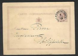 1874 Postkaart Carte Postale Molenbeek  Vers Philippeville ( Klass Heuroud ) Plie Verticale !!! - Stamped Stationery