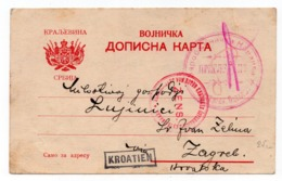 1915 SERBIA, PRISTINA TO ZAGREB, KROATIEN POW, AUSTRIAN RED CROSS, CENSORED, MILITARY MAIL - Serbia