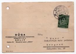 1934 YUGOSLAVIA, CROATIA, SPLIT TO BELGRADE, CORRESPONDENCE CARD, DUGA, CHEMICAL INDUSTRY - 1931-1941 Regno Di Jugoslavia