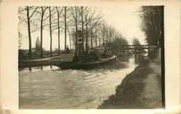 090919 - CARTE PHOTO 1916 Bateau Péniche Navigation Sur Le Canal De La Marne Au Rhin - Hausboote
