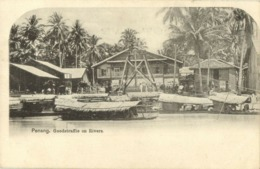 Malay Malaysia, PENANG, Goodstraffie On Rivers (1899) Postcard - Malaysia