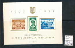 LITHUANIA MS YVERT 2 LH - Lituanie