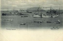 Malay Malaysia, PENANG, Harbour Scene, Native Boats And Steamers (1899) Postcard - Malaysia