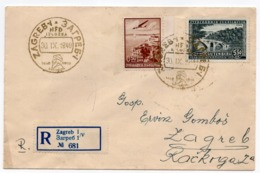 1940 YUGOSLAVIA, CROATIA, ZAGREB LOCAL RECORDED MAIL, SPECIAL CANCELLATION, HFD EXHIBITION - 1931-1941 Royaume De Yougoslavie