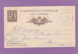 GANZSACHE VON BITONTO NACH BARI,1879. - 1878-00 Humbert I.